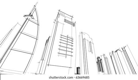 sketch of a skyscraper