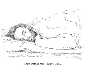 Sketch of sleeping handsome bearded man, Hand drawn vector illustration with cross hatching