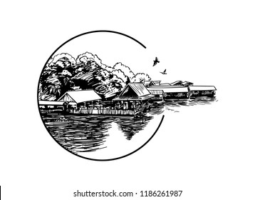 Sketch of small village on the bank of the river in Southeast Asia, Hand drawn vector illustration