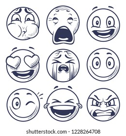 Sketch smiley. Smile expression icons, emoticons faces. Hand draw vector mood characters. Sketch face smiley mood, smile character emoticon illustration