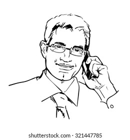Sketch of smiling businessman in glasses talking on the phone. Hand drawn vector illustration.