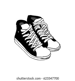 Sketch  sneakers on an isolated background.Hand drawn black pen