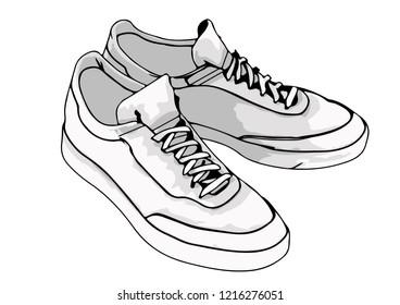 sketch sneakers vector