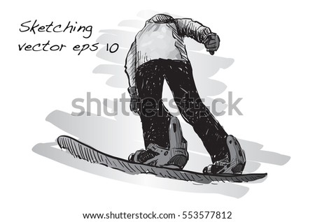 b8999ebc375a Sketch Snow Board Man Riding Winter Stock Vector (Royalty Free ...