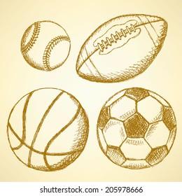 Sketch soccer, american football, baseball and basketball ball