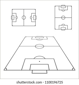 Sketch of soccer fields set. Football field design element. Soccer field top view template. Vector illustration