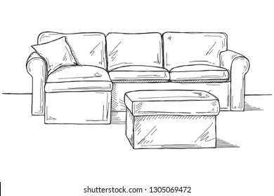 Sketch sofa with pouf isolated on white background. Vector illustration