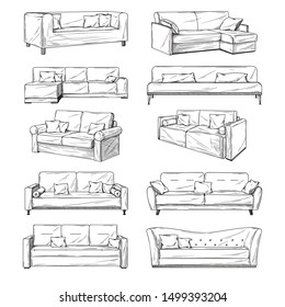 Sketch of sofas isolated on white background. Vector illustration