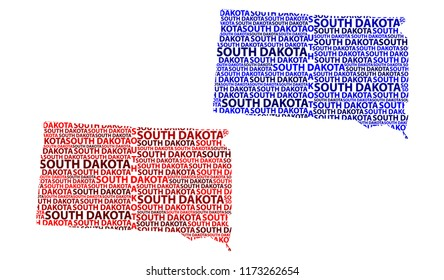Sketch South Dakota (United States of America) letter text map, South Dakota map - in the shape of the continent, Map South Dakota - red and blue vector illustration