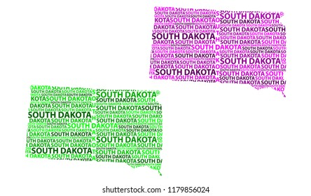 Sketch South Dakota (United States of America) letter text map, South Dakota map - in the shape of the continent, Map South Dakota - green and purple vector illustration