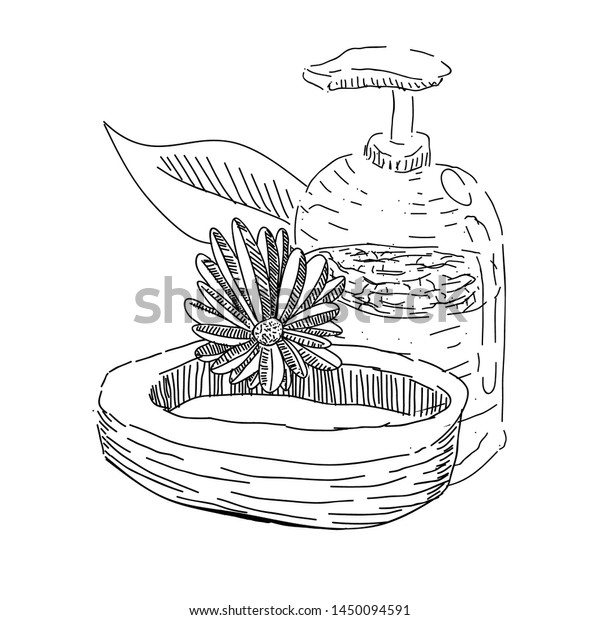 Sketch Spa Objects Body Cream Bottle Stock Vector Royalty Free 1450094591
