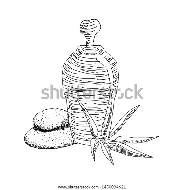 Sketch Spa Objects Pile Stones Leaves Stock Vector Royalty Free 1450094621