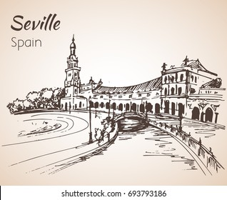 Sketch of spain city Seville. Isolated on white background