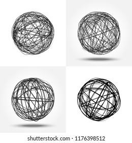 Sketch of the sphere. Round doodles in the form of orb. Vector illustrations set. 3D round hand drawn figures. Black pencil sketch. Abstract grunge background with tangled dark spheres.