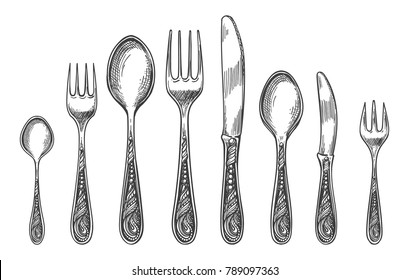 Sketch spoon, fork and knife. Vintage silverware or antique dinnerware drawing vector illustration