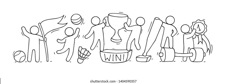 Sketch of sport class with little people. Doodle cute miniature of teamwork and sport equipment . Hand drawn cartoon vector illustration for school subject design.