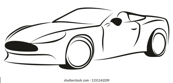 Sketch of sports car