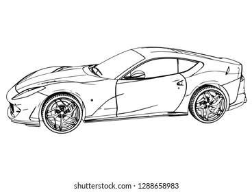 sketch sports car fast vector