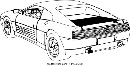 sketch of the sports car on a white background vector
