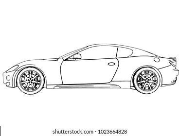 sketch of a sports car vector