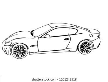 sketch sports car vector