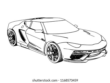 Sports Car Sketch Design 3 D Render Stock Vector Royalty Free