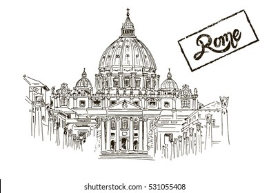 sketch of St. Peter's Basilica in Rome, Italy.