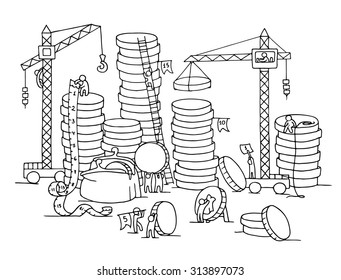 Sketch of stack of coins with working little people, crane, purse. Doodle cute miniature of construction golden coins and preparing for the big profit. Hand drawn cartoon vector for business design.