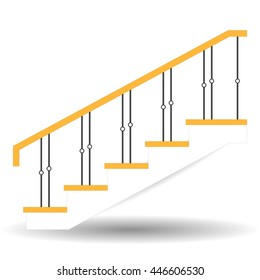 Sketch staircase  Icon. Sample ladder  with  fence side view isolated. Vector illustration on a white background.