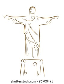 Sketch of the Statue of Christ the Redeemer golden brush