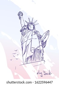 Sketch of Statue of Liberty New York City USA and seagulls flying near, Hand drawn vector linear illustration