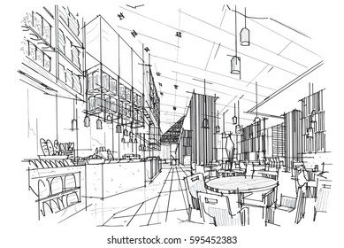 sketch streaks all day & restaurant, black and white interior design. vector sketch