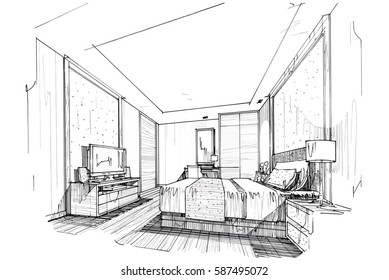 sketch streaks bedroom, black and white interior design. vector sketch