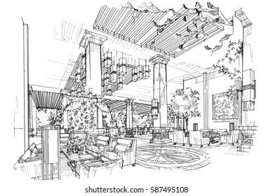 sketch streaks lobby hall, black and white interior design. vector sketch
