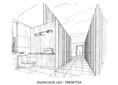 sketch streaks toilet & bathroom, black and white interior design. vector sketch