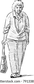 sketch of a strolling elderly woman
