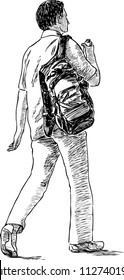 Sketch of a strolling young man