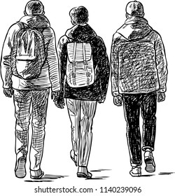 Sketch of the students boys going on a stroll