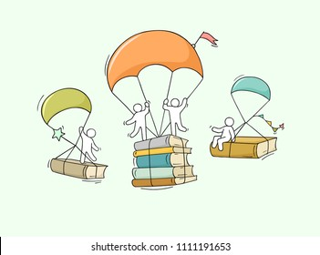 Sketch studing little people. Doodle cute miniature with parachute and books. Hand drawn cartoon vector illustration for education design.