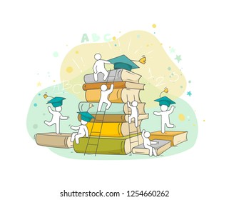 Sketch studing little people. Doodle cute miniature of stack of books. Hand drawn cartoon vector illustration for business and education design.