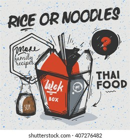 Sketch style box with a Thai takeaway. Quote - too spicy for you. White background