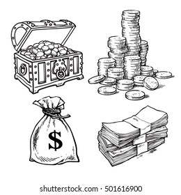 Sketch style collection of money symbols: old chest with treasures, stack of gold coins, sack of dollars, stack of dollar bills. Hand drawn cartoon vector illustrations isolated on white background.