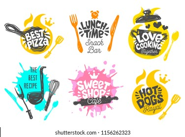 Sketch style cooking lettering icons set. For badges, labels, logo, sweet shop, bakery, snack bar, street festival, country fair, shop, kitchen classes, cafe, food studio. Hand drawn vector