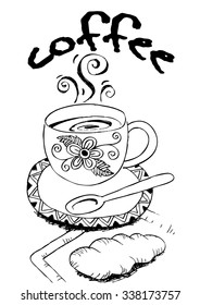 sketch style croissant an cup of coffee. Hand drawn design for your business