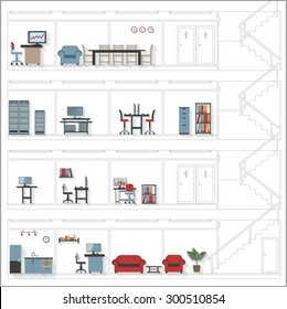 Sketch Style Cutaway Office Building with Interior Design Plan - Detailed Grouped and Layered EPS10