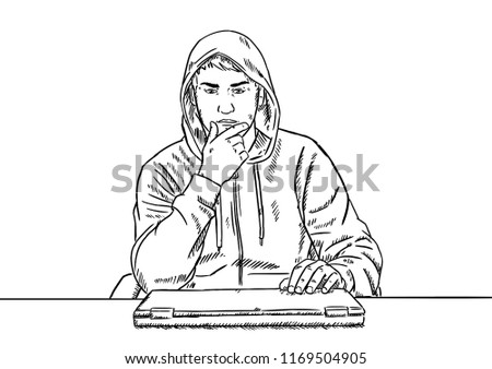 sketch style doodle hacker thinking about stock vector royalty free Thinking Cartoon Man Looking at the Sky sketch style doodle of hacker thinking about his next project