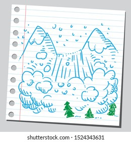 Sketch style drawing of an avalanche.
