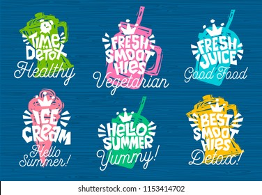Sketch style  food lettering icons set. For badges, labels, logo, fresh market, detox, farmers market, eco shop, smoothies drinks, juice cafe, green bar. Hand drawn vector illustration.
