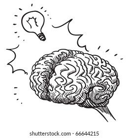 Sketch style illustration of a human brain having an idea