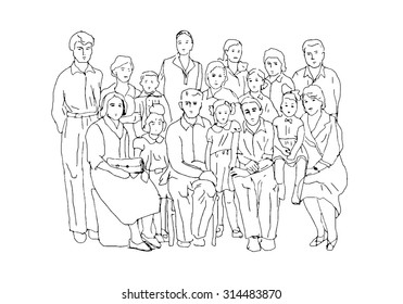 Sketch in the style of old photographs illustrating family life and family values of the last century